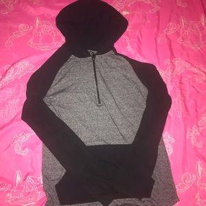Hooded Long Sleeved 3/4 Zip Shirt